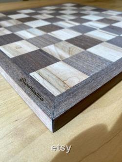 Échiquier sur mesure en bois massif fabriqué à la main