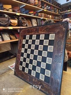Échiquiers faits main Real échiquier en cuir grande taille, bois d échiquier