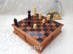 Ensemble d échecs Araar Twist de style marocain fait à la main avec des pièces de bois de citron incluses