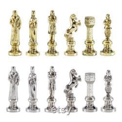 Ensemble d'échecs Renaissance Brass-Nickel Sans Échiquier