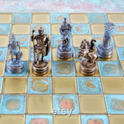 Ensemble d échecs de l armée romaine grecque Blue-Copper avec blue oxidized Board
