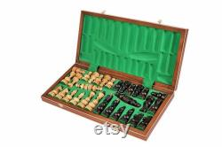 Ensemble d échecs en bois Debiut fabriqué à la main flambant neuf 50cm x 50cm Pièces pondérées