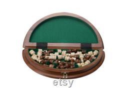 Ensemble d échecs en bois, Rond 35x35x3 cm Carte d échecs sculptée à la main, Main, bois écologique, jeu d échecs, (14 x 14 x 1 ), cadeau de papa, cadeau d échecs