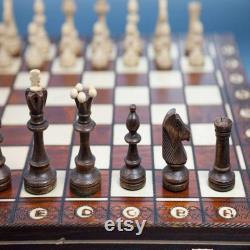 Ensemble d échecs en bois européen, jeu d échecs pliant classique, 16 pouces d échiquier unique, jeu d échecs fait main