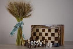 Ensemble d échecs en bois fait main Échecs, backgammon et dames (draughts) 15x15 pouces (38x38 cm) Con u avec votre propre message personnalisé