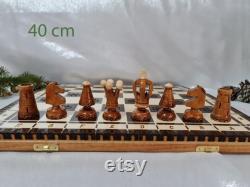 Ensemble d échecs en bois personnalisé, sculpté à la main, 3 tailles