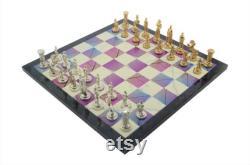 Ensemble d échecs en métal pour adultes figurines médiévales de l armée britannique, pièces faites à la main et spring design en bois Chess Board King 2,75 inc