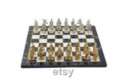 Ensemble d échecs en métal pour adultes ottoman vs figures byzantines, pièces faites à la main et marbre Design en bois Chess Board King 3.35 inc