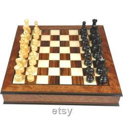 Ensemble d'échecs en orme Burl et bois de rose avec poignées bronzées