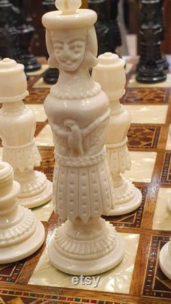 Ensemble d échecs, fait main, unique, pièce d échecs, morceaux d os de chameau, guerre civile américaine, blanc et noir, incrusté
