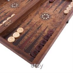 Ensemble de backgammon élégant de 19,7 pouces Burl