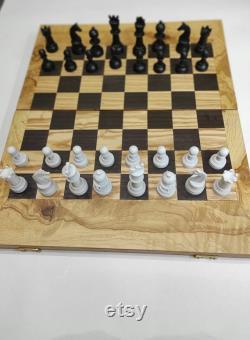 Ensemble de backgammon et d échecs fait main Grand jeu de société en bois fait de riza riza racine d olivier Cadeaux