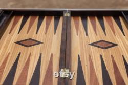 Ensemble de backgammon olivewood Tavli grec fait main en bois taille moyenne Cadeaux