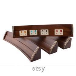 Ensemble de jeu de société personnalisé Oval Rummy Cube Racks de rummicube elliptiques en forme ovale Jeu de tuiles personnalisé- Ensemble de jeux rummy ovale en bois