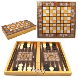 Ensemble massif de backgammon d or de luxe, backgammon vip d étoile, cadeau du nouvel an pour lui jeu en bois, jeu en bois de backgammon placé pearlescent board