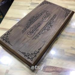 Ensemble personnalisé de backgammon, ensemble fait main de backgammon, ensemble en bois de backgammon, panneau en bois de backgammon, ensemble de backgammon fait à la main, cadeau pour papa