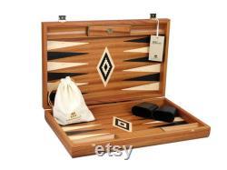 Executive Range Manopoulos Backgammon Set acajou 23 Racks de stockage inclus