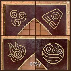Gold Trim Pai Sho Jeu de société avec tuiles et symboles nation incrustées