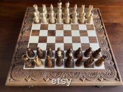 Grand jeu d échecs Échecs en bois Backgammon Dames Grand jeu d échecs en bois Jeu d échecs sculpté hess board fabriqué à la main Échiquier en bois Backgammon