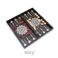 Hagia Sophia Backgammon Handmade Backgammon Set White Mother Of Pearl Inlaid Backgammon Game Set Cadeau pour papa Cadeau pour les amis