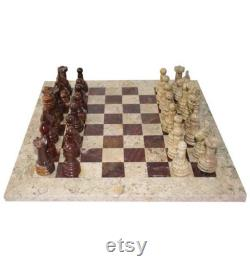 Handmade Marble Chess Set Indoor Adult Chess Game Marble Chess Board Handcraft 16 x 16 Premium Top Quality Chess Board