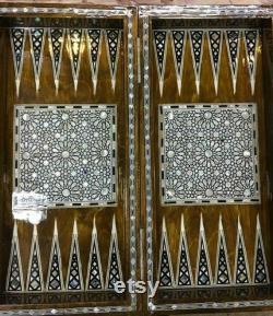 Handmade Wood Backgammon Board Inlaid Shell 16.8
