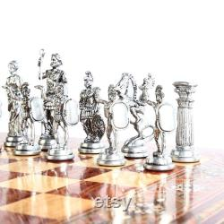 Historical Antique Copper Rome Figures Handmade Metal Chess Pieces Big Size 11 cm (Board is Not Included)