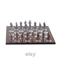 Historique Espagnol Royal Guards Metal Chess Set pour adultes et enfants Pièces faites à la main et Mosaic Design Wooden Chess Board King 2.65
