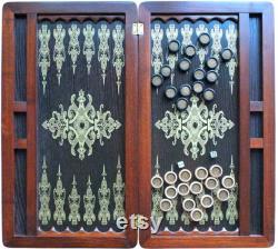 Incroyable bois Backgammon ensemble à la main est backgammon en cuir en laiton en 22,44.