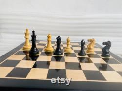Indien fait main 17 X 17 Pouces Sheesham Wood non magnétique Premium Quality Plat Chess Board avec des pièces d échecs, échecs plats, échiquier en bois