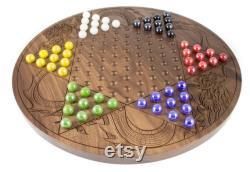 Ingraved Walnut Chinese Checkers Board (en)