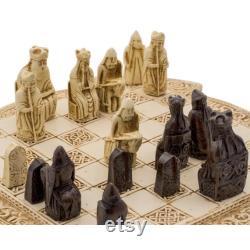Isle Of Lewis Compact celtique d échecs ensemble 9 pouces en ivoire