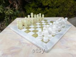 JadeandMarble Chess Set 30 x 30 cm Jade et Marbre Blanc Édition Limitée Jeu d échecs Cadeaux faits à la main