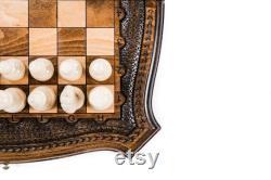 Jeu d'échecs, Backgammon 3 en 1 jeu de société échiquier en bois échecs personnalisés LIVRAISON EXPRESS GRATUITE