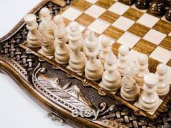 Jeu d'échecs Backgammon avec plateau sculpté Échecs personnalisés LIVRAISON EXPRESS GRATUITE