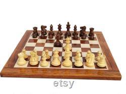 Jeu d échecs Combo 15 Échiquier en bois massif en golden rosewood Carré de 39 mm avec des pièces d échecs Pro Staunton 2.7 king Valentine s Gift
