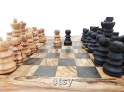 Jeu d échecs, Olive Wood Unique Jeu d échecs rustique avec tiroirs Cadeau d anniversaire Cadeau de papa Cadeau de petit ami