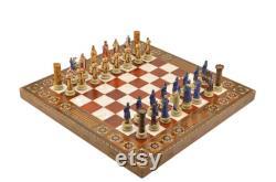 Jeu d échecs Seldjoukides et croisés bataille, handmade Polyester pièces d échecs uniques et Rose Naturel Solide Chess Board