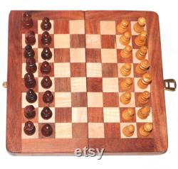 Jeu d échecs Wooden Magnetic Travel Set Rosewood Golden Hand with Staunton Chess pieces (Folding) Special Storage Slots in board
