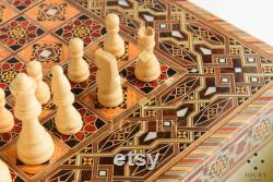 Jeu d échecs and Backgammon board, backgammon set qualité étonnante, en bois incrusté de nacre, jeux de société, cadeau de Noël Échiquier