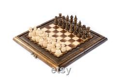 Jeu d'échecs avec backgammon échiquier fait main cadeau de fête des pères