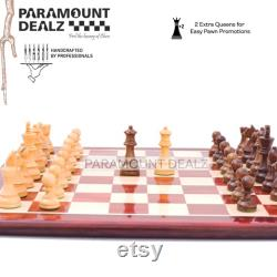 Jeu d échecs avec de planche 21 Grande planche en bois de luxe faite à la main et pièces Staunton lestées sculptées à la main Idéal pour les amateurs d échecs vintage Cadeau
