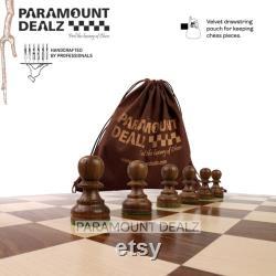 Jeu d échecs avec de planche Grand jeu de société en bois fait à la main de 21 pouces avec pièces en bois Staunton sculptées à la main vintage à collectionner pour les amateurs d échecs