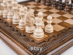 Jeu d'échecs classique Échiquier sculpté personnalisé Échecs en bois LIVRAISON EXPRESS GRATUITE