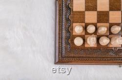 Jeu d'échecs échiquier en bois cadeau de fête des pères