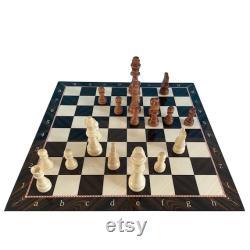 Jeu d échecs en bois 14.5 pouces, 37 cm Mosaïque Noyer Marbre Modèle Chess Board et Figurines en bois Jeu d échecs Cadeau d anniversaire idéal
