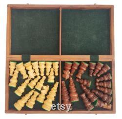Jeu d échecs en bois 14 Pliage Pièces de bois de voyage et planche