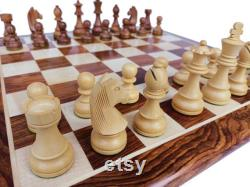 Jeu d échecs en bois Échiquiers fabriqués à la main et plateau Pièces d échecs chevalier allemand 3.9 roi Golden Rosewood Chess Board 19 pouce MEILLEUR CADEAU