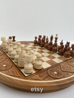 Jeu d échecs en bois d échecs fait main jeu d échecs rond à la main avec l échiquier d échiquier