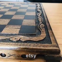 Jeu d échecs en bois en pierre en métal, ensemble élégant d échecs, jeu d échecs, jeu d échecs en bois, jeu d échecs en bois fait main, jeu d échecs unique, échecs